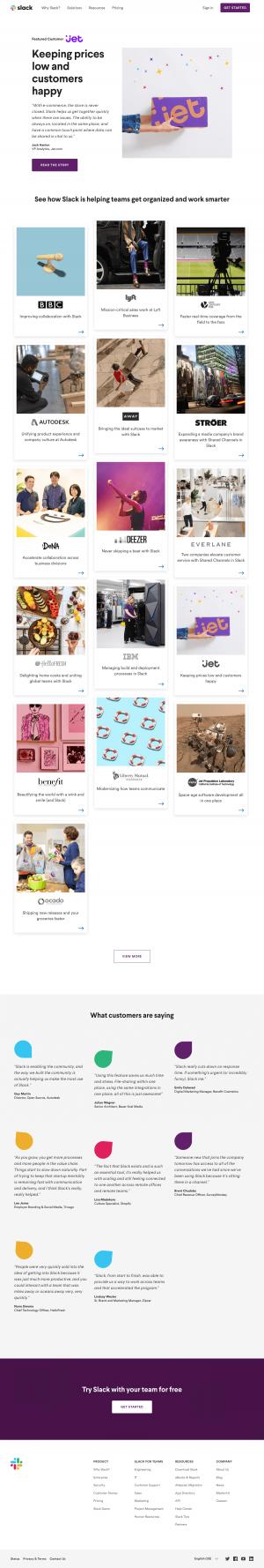 Customer page inspiration - Slack