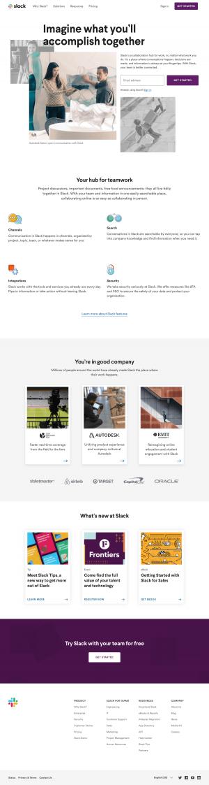 Homepage design inspiration - Slack