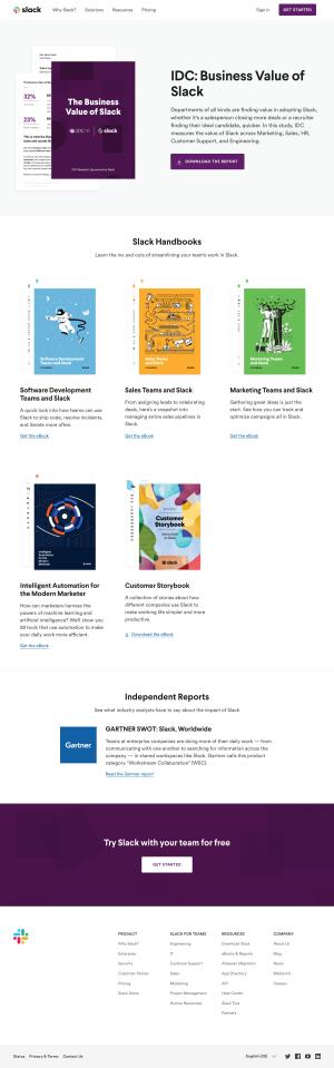 Resources page inspiration - Slack