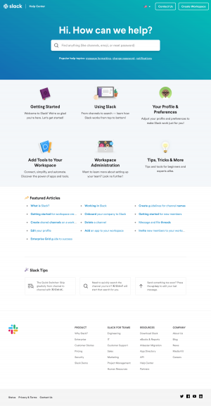 Support index page inspiration - Slack