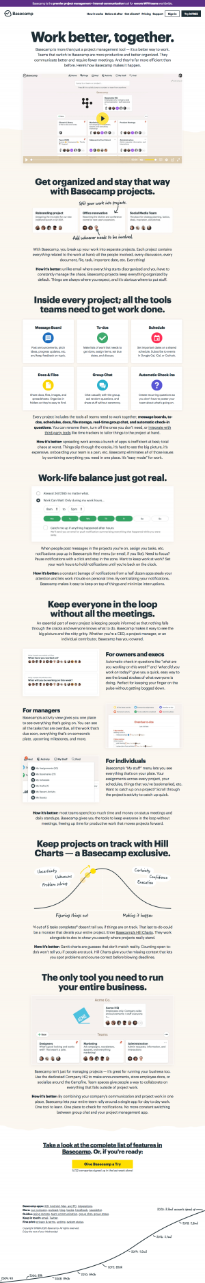 Basecamp - Features page