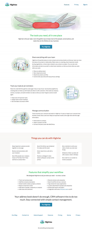 Features page inspiration - saas Highrise