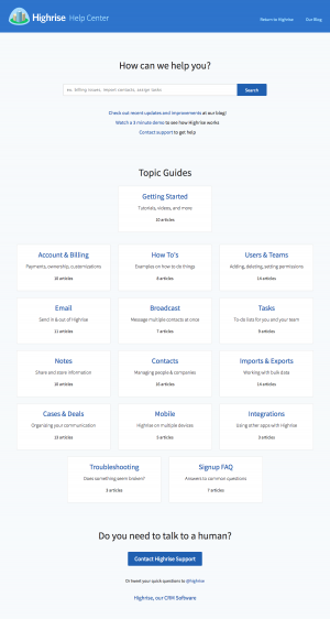 Support page inspiration - saas Highrise
