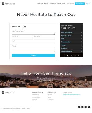 Contact page inspiration - saas Kissmetrics
