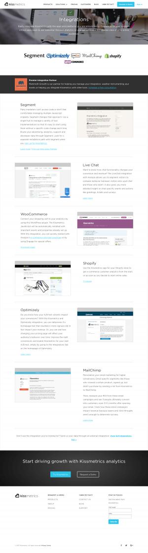 Integrations page inspiration - saas Kissmetrics