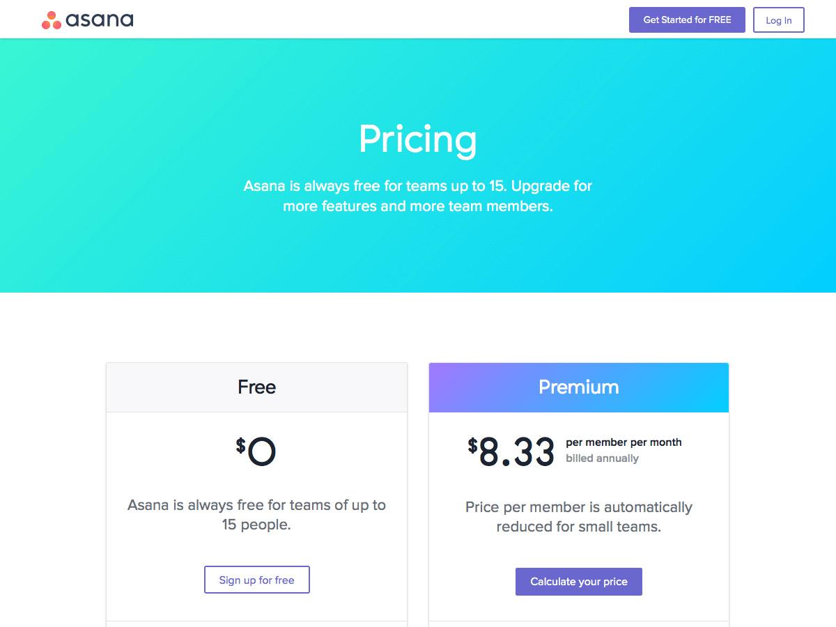 Asana pricing table