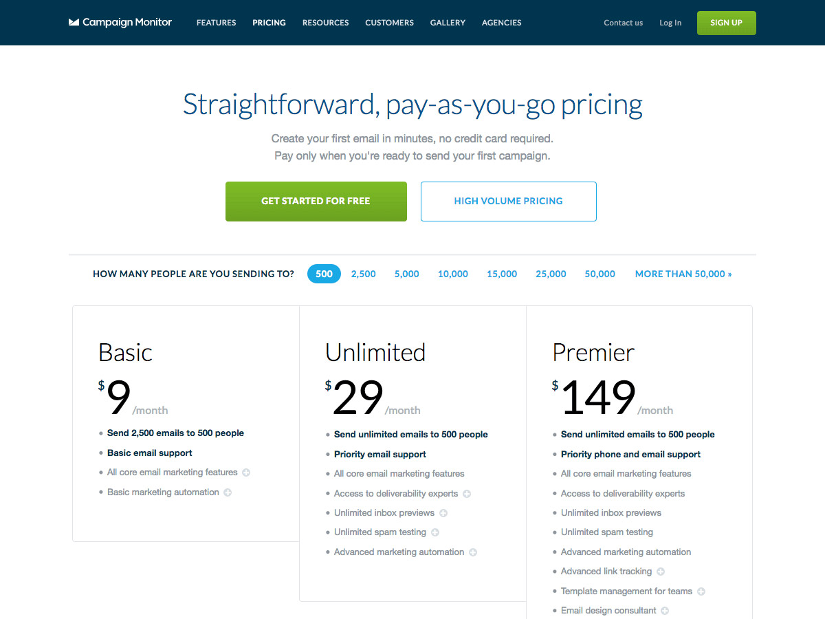 Campaign Monitor pricing table