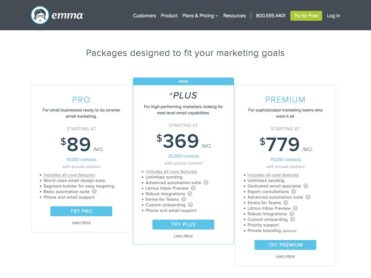 Emma pricing table