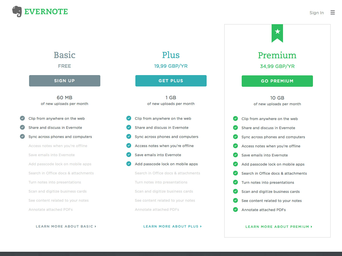 Evernote pricing table