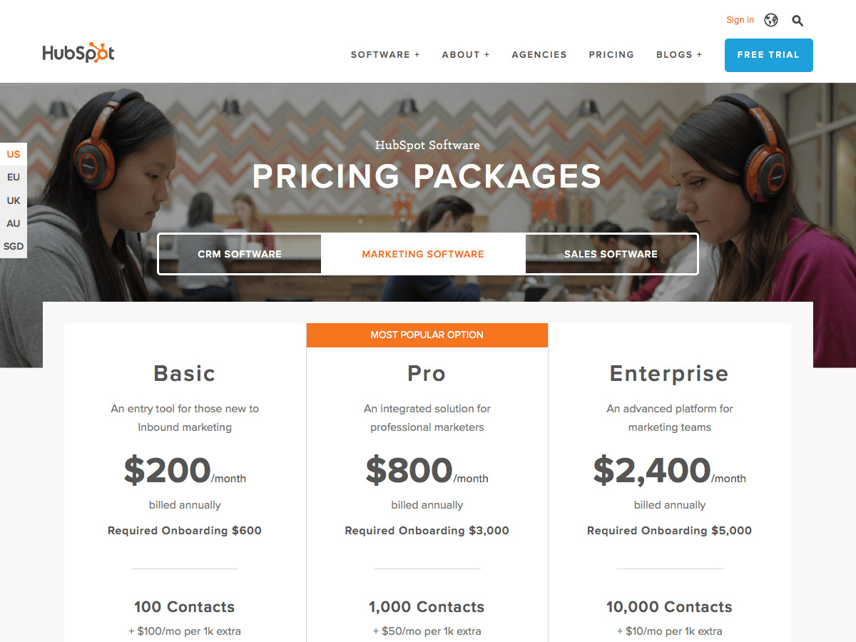 HubSpot pricing table