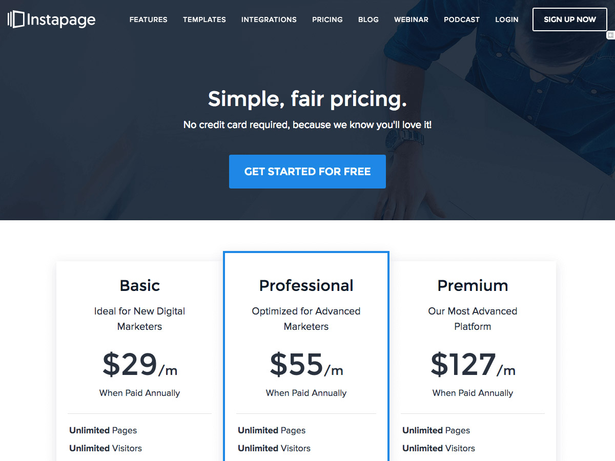 Instapage pricing table