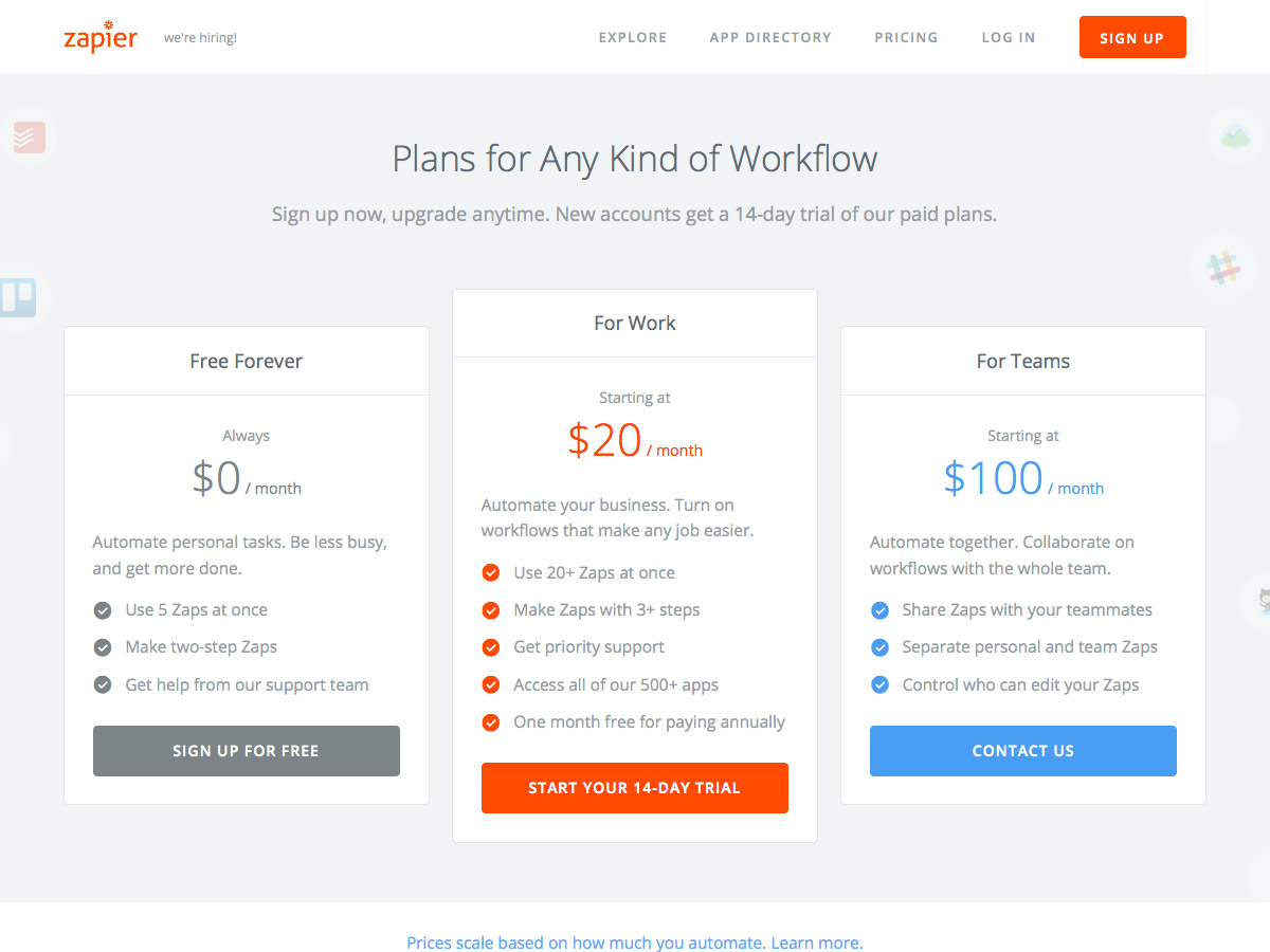 Zapier pricing table
