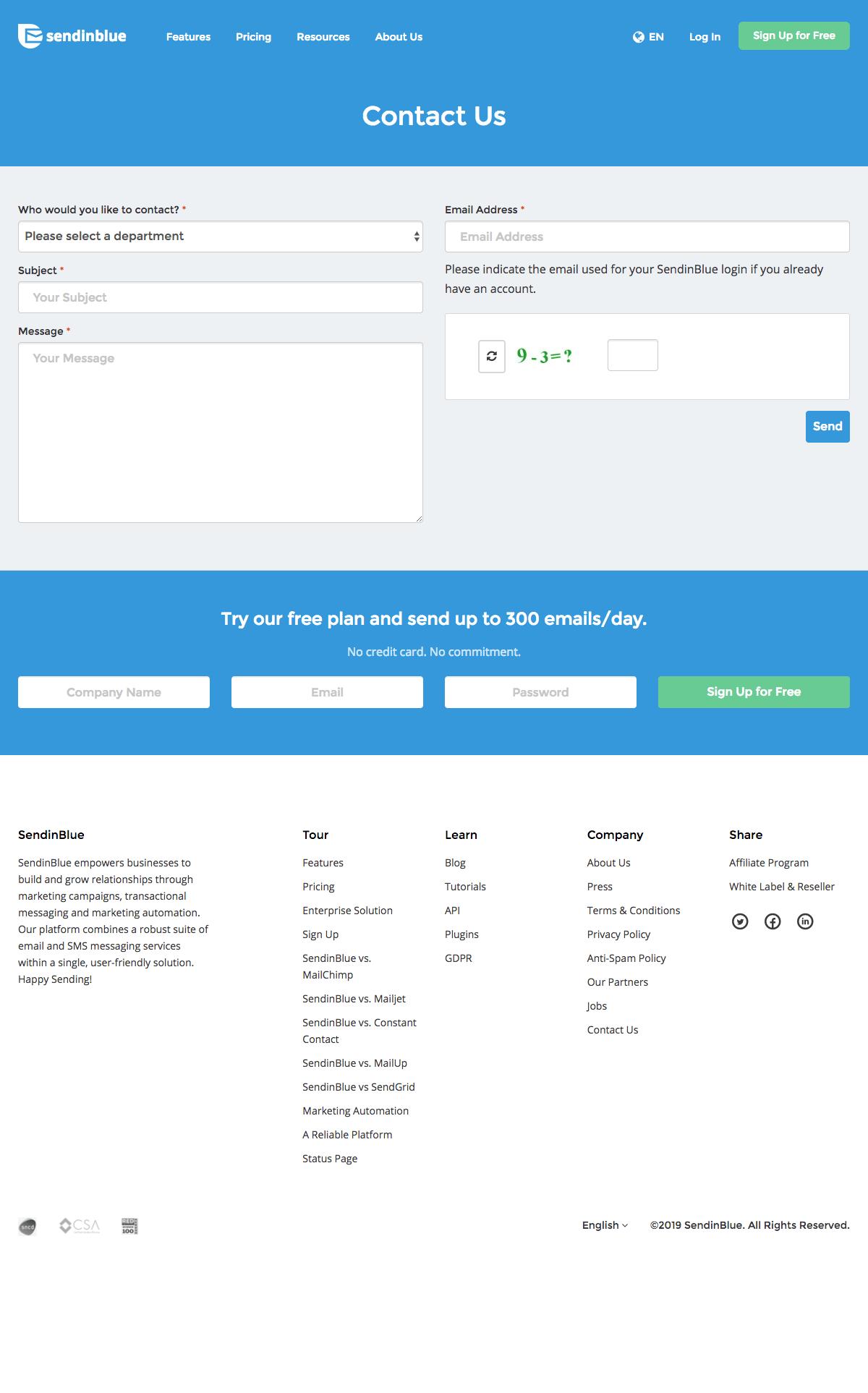 contact page-sendinblue