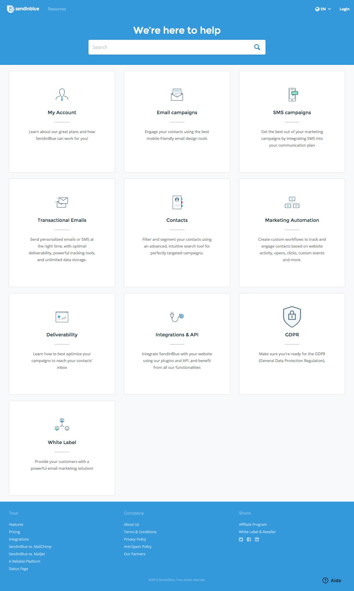 support page - sendinblue