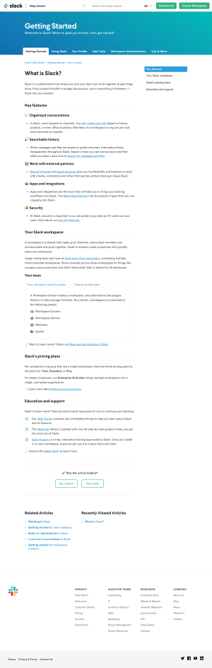 Support article inspiration - Slack