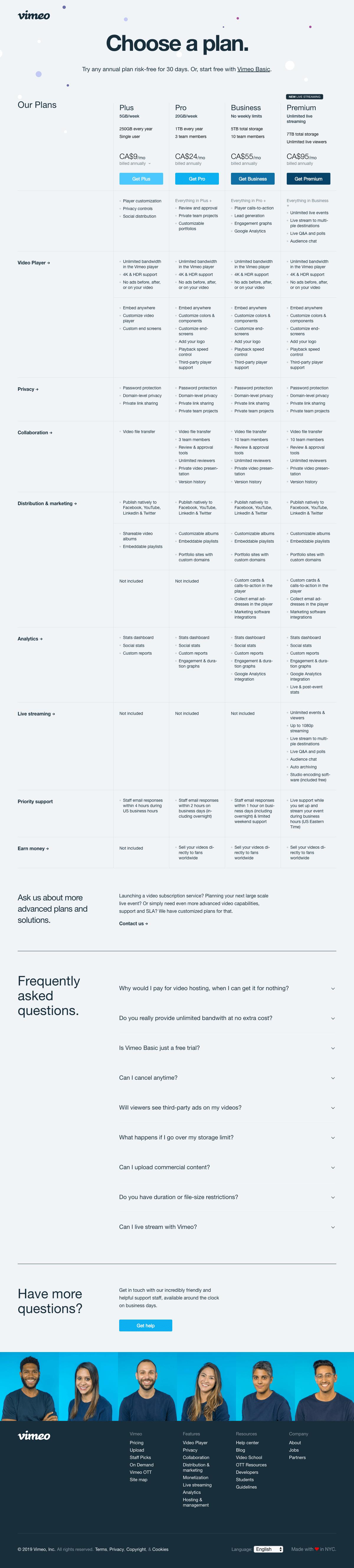 Vimeo - Pricing page