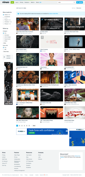 Vimeo - Search results page