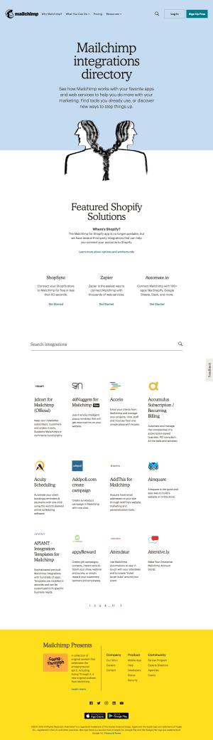 Mailchimp - Integrations page