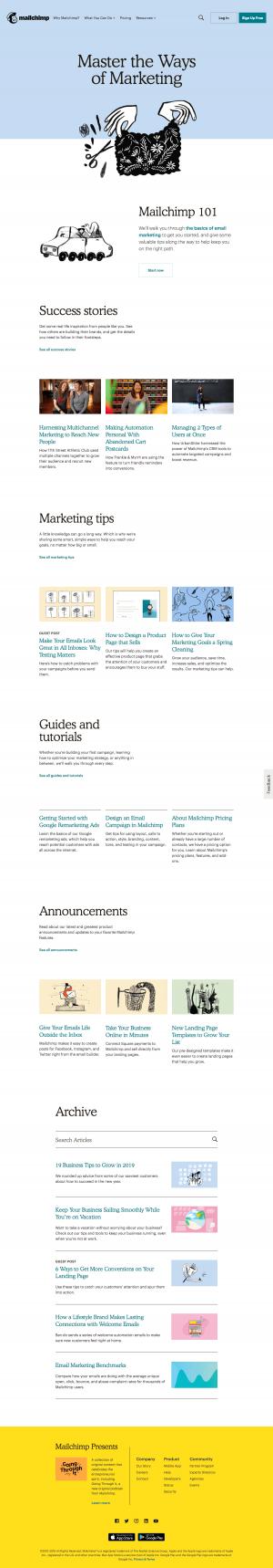 MailChimp - Resources page