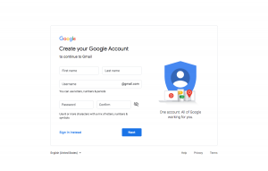Gmail - Sign up page 1