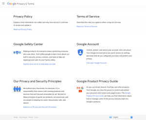 Gmail - Privacy Policy page