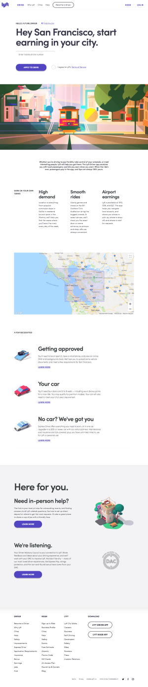 features page - lyft