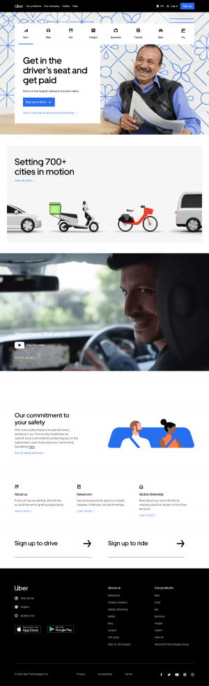homepage - uber