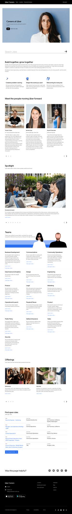 Career page - Uber