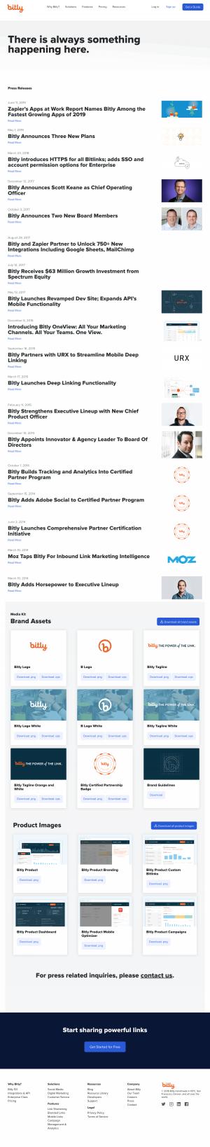 Media Kit page -bitly