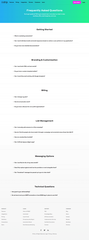 FAQs page - drip