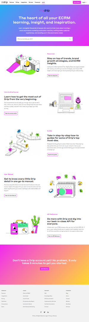 Resources page - drip