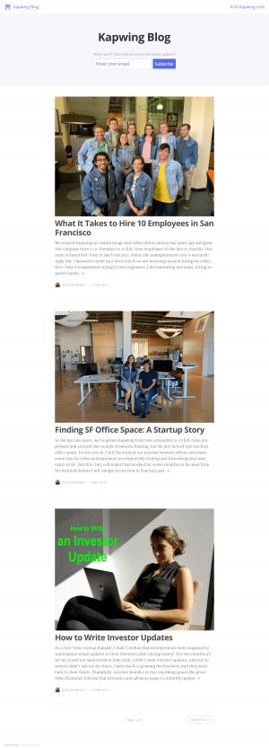 Blog index page - kapwing