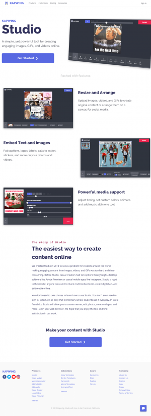 Features page - kapwing