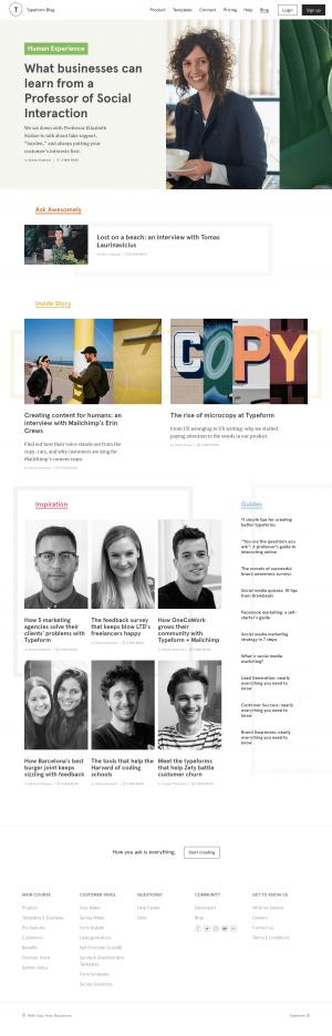 Blog index page - typeform
