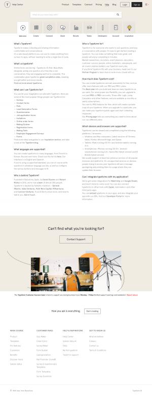 FAQs page - typeform