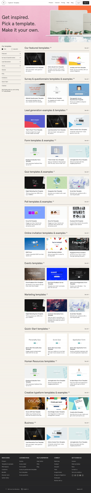 Features page - typeform