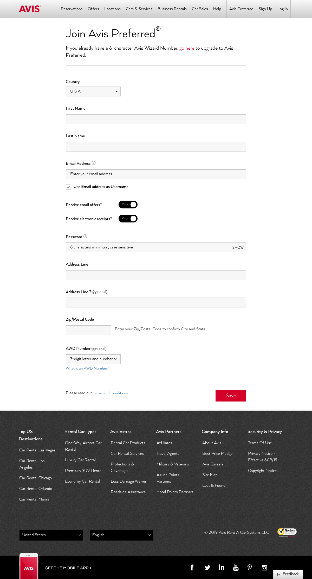 Sign up page - avis