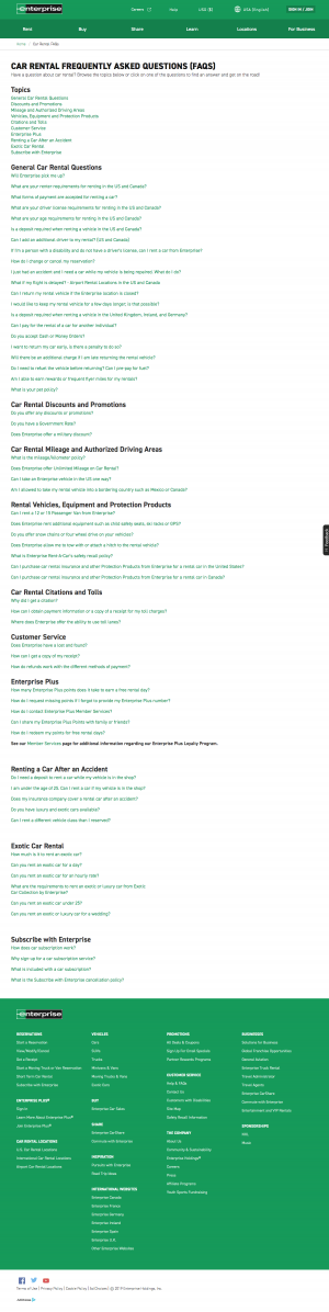 FAQs page - enterprise