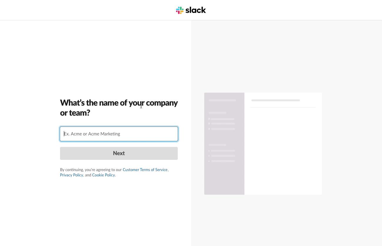 User Onboarding flow from Slack - step 1
