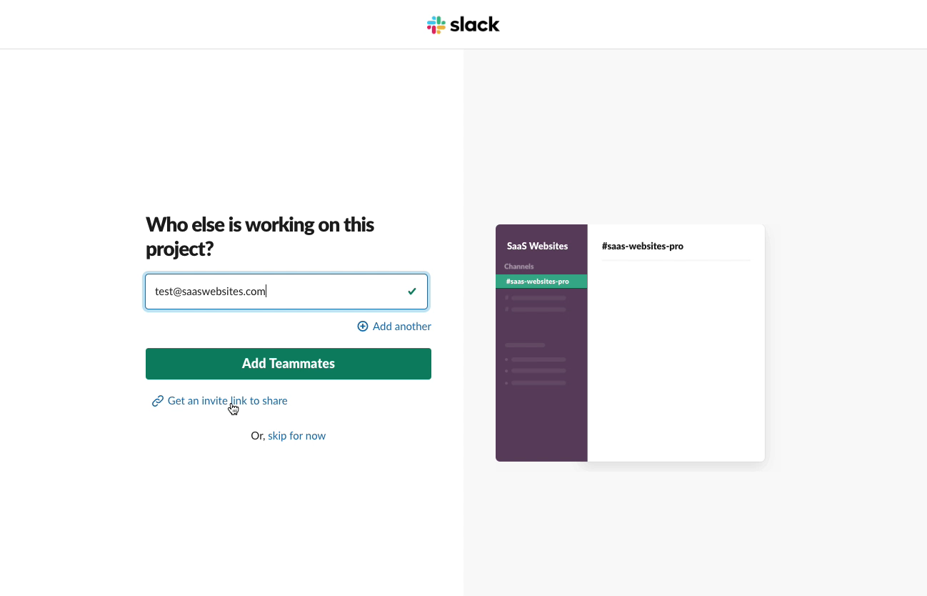 Slack - Email validation after sending invitation