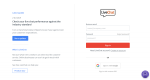LiveChat - Login page