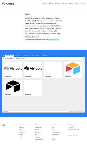 Airtable - Media Kit page
