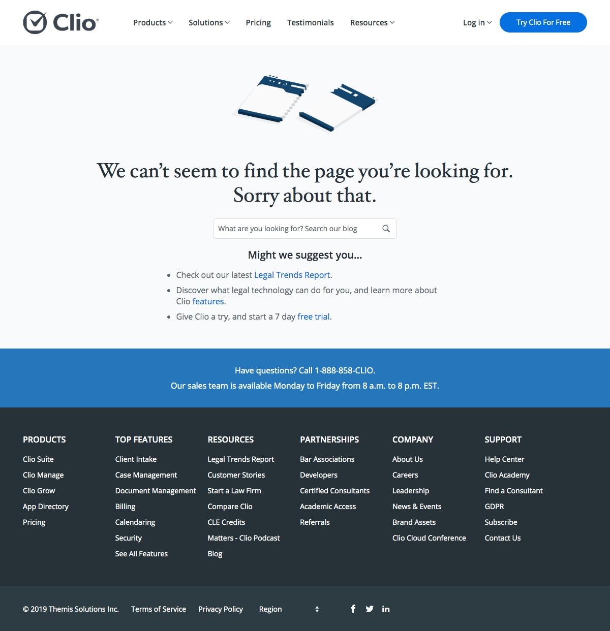 Clio - 404 Error page