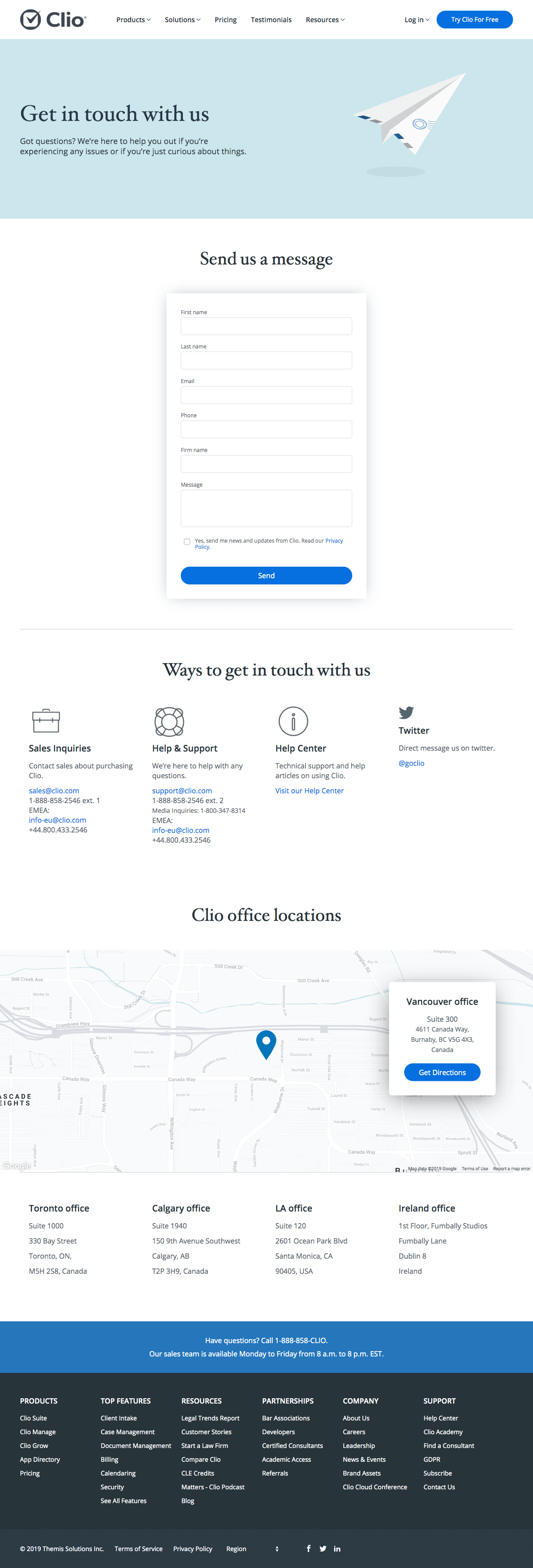 Clio - Contact page