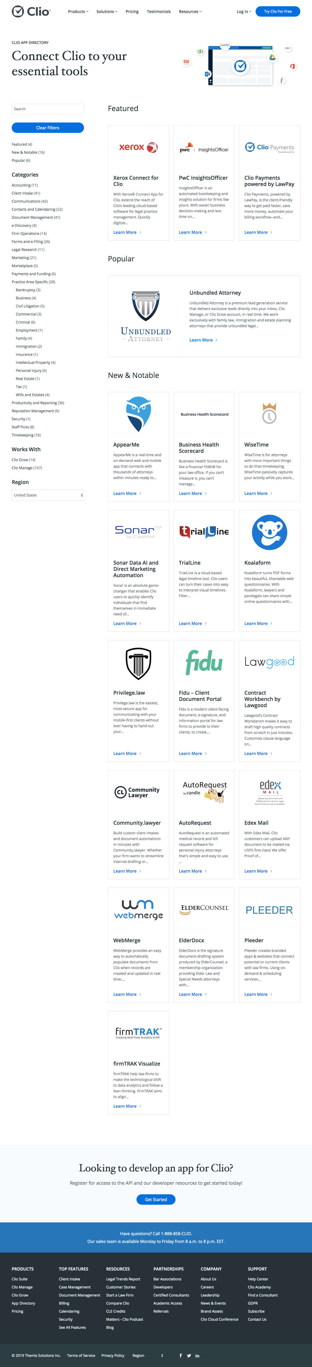 Clio - Integrations page 1