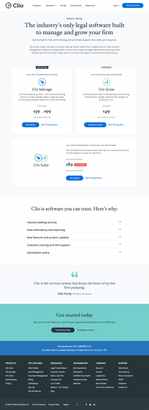 Clio - Pricing page