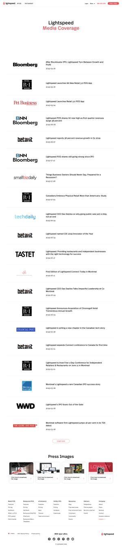 Lightspeed - Media kit page