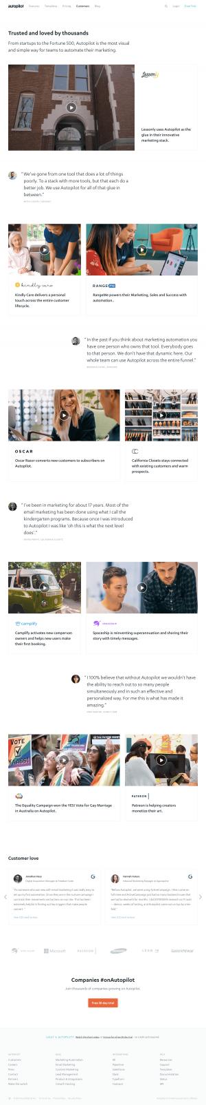 Autopilot - Customers page