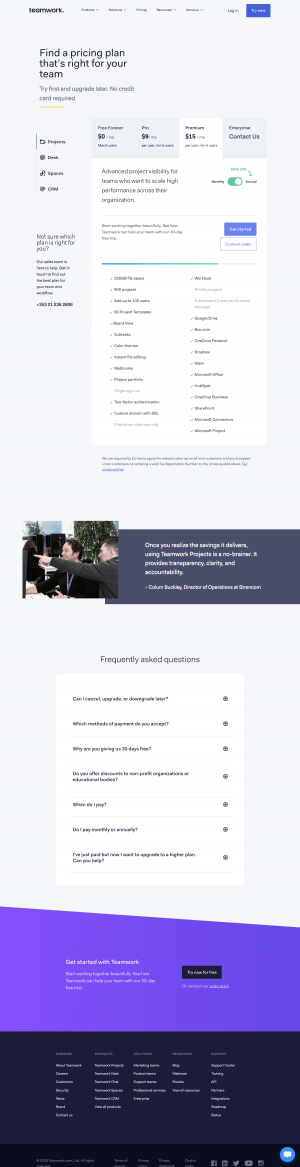Teamwork - Pricing page