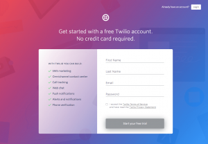 Twilio - Sign up page